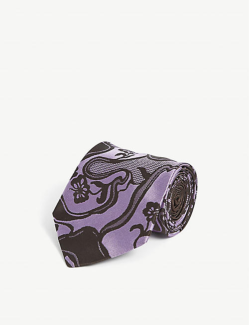 DRIES VAN NOTEN: 102 abstract-pattern silk tie