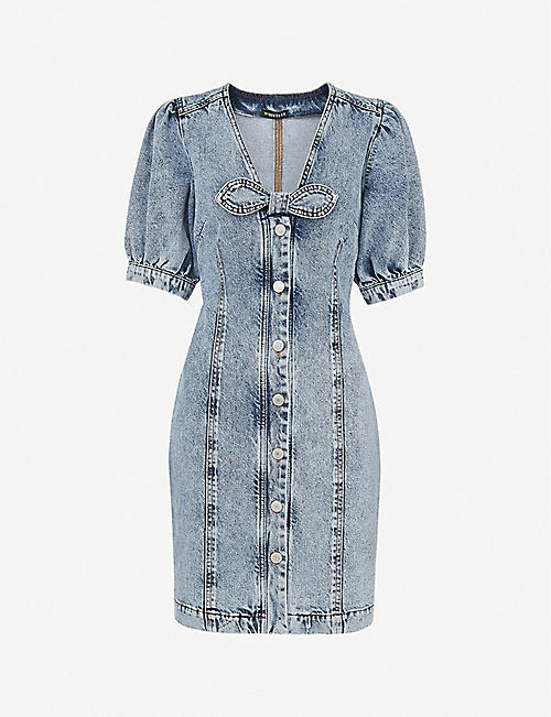 WHISTLES: Acid wash denim mini dress