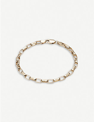 RACHEL JACKSON: Box-chain 22ct gold-plated sterling silver bracelet