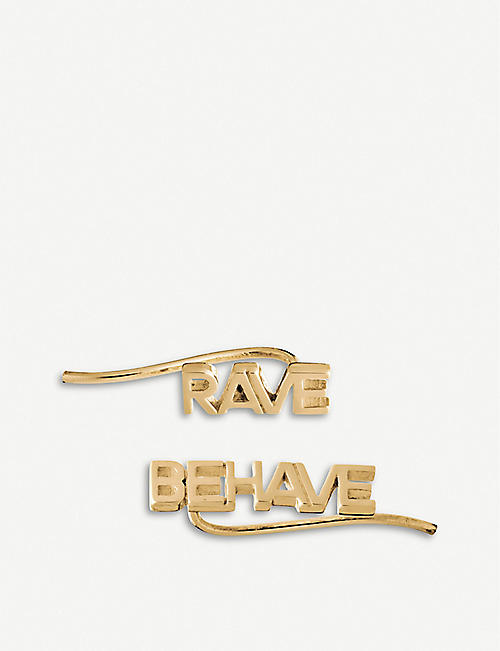 RACHEL JACKSON: Rave Behave 22ct gold-plated silver crawler earrings
