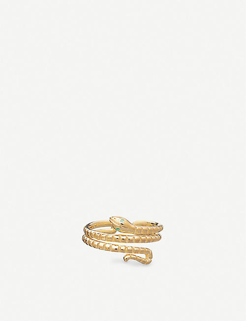 RACHEL JACKSON: Transform 22ct gold-plated sterling silver and emerald snake ring