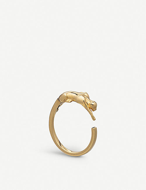 RACHEL JACKSON: Panther 22ct gold-plated sterling silver ring
