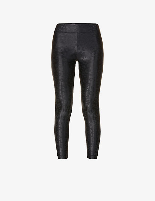 KORAL: Lustrous leopard-print high-rise stretch-jersey leggings