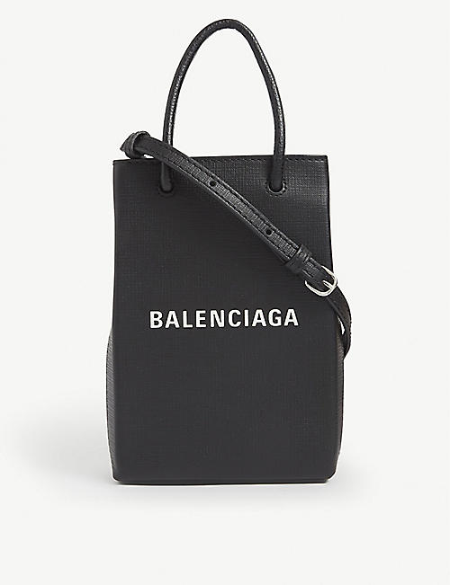 BALENCIAGA: Logo-print leather cross-body bag