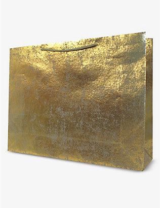 VIVID WRAP: Gold Crush Gunmetal extra-large recycled-cotton paper gift bag