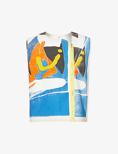 BETHANY WILLIAMS: Abstract-print zipped denim vest