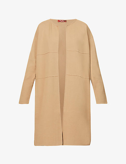 MAX MARA STUDIO: Girotta cable knit-panel stretch-jersey coat