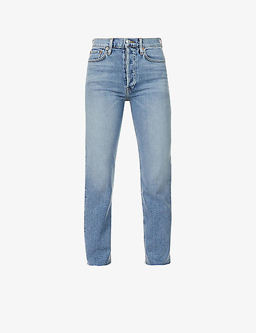 RE/DONE: Stove Pipe straight-leg high-rise stretch-denim jeans