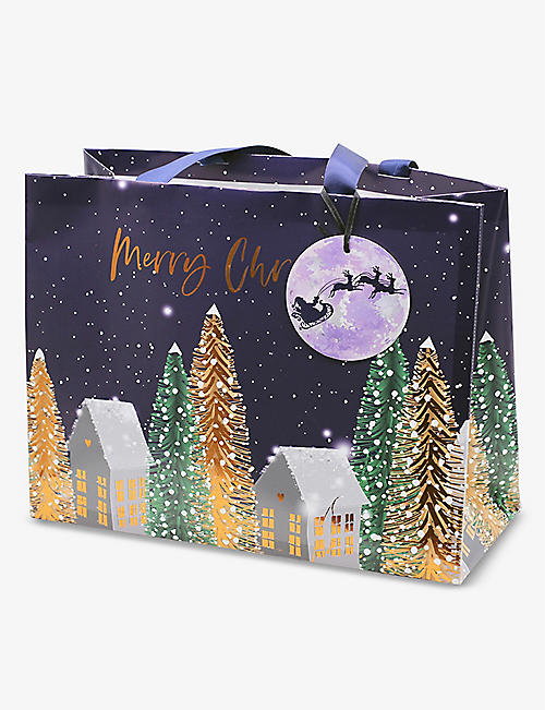 BELLY BUTTON DESIGNS: Festive Village large gift bag 30x30x12cm
