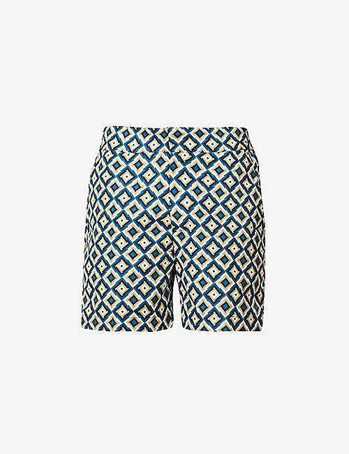 FRESCOBOL CARIOCA: Pangra abstract-print swim shorts