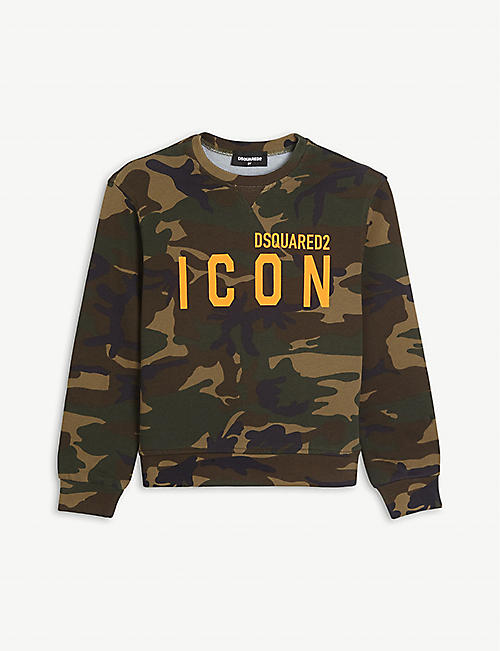 DSQUARED2: Icon branded camo-print cotton sweatshirt 4-16 years