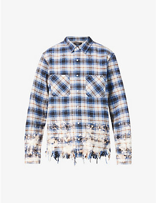 AMIRI: Distressed check cotton shirt