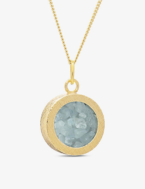 RACHEL JACKSON: Birthstone Amulet March 22ct gold-plated sterling silver and aquamarine necklace