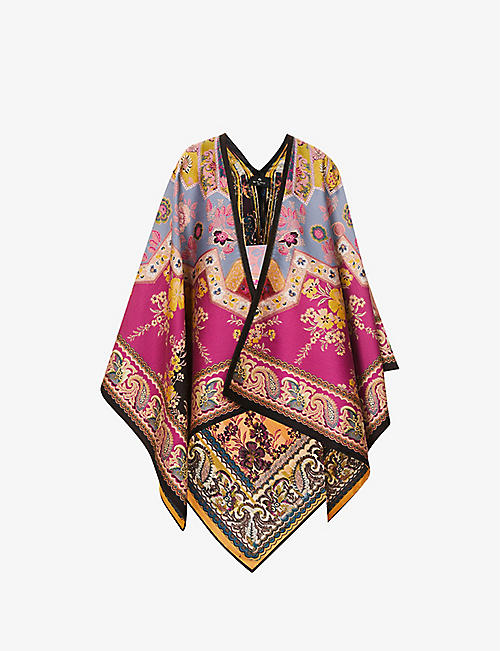 ETRO: Floral-print wool-blend coat cape