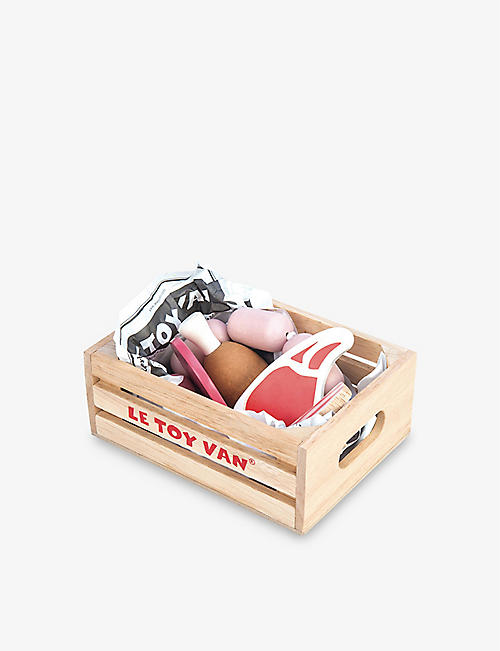 LE TOY VAN: Market Meat Crate wooden toy set