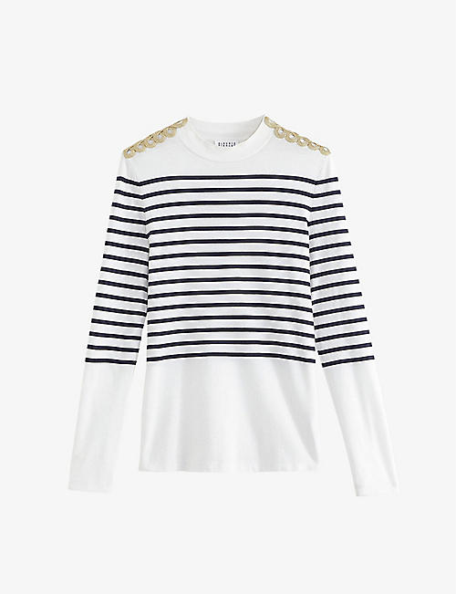 CLAUDIE PIERLOT: Togold striped cotton-jersey top