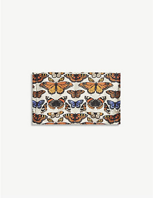 EMILY CARTER: Butterfly-print silk face covering
