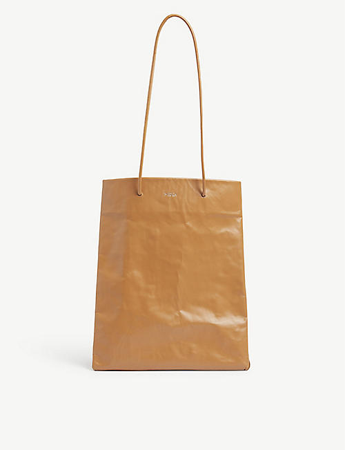 MEDEA: Tall Busted leather tote bag