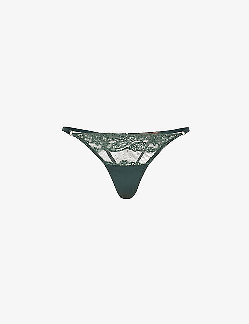 COCO DE MER: Seraphine high-rise lace and satin thong