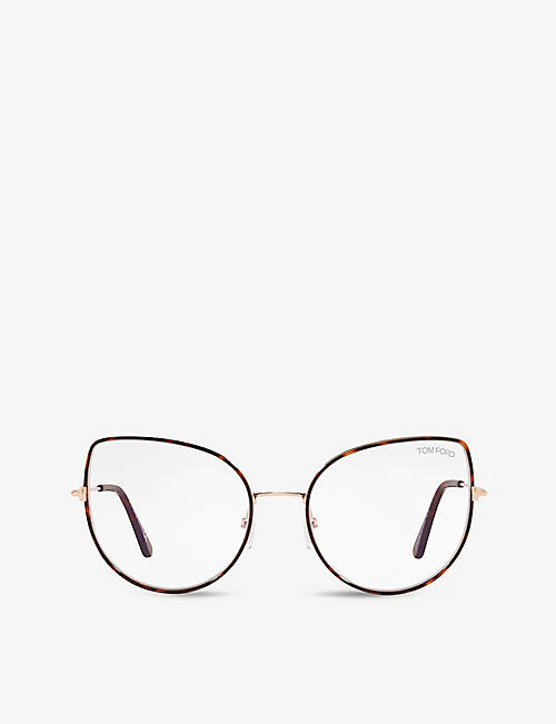 TOM FORD: FT5614-B irregular-frame metal and tortoiseshell optical glasses