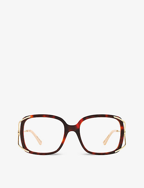 GUCCI: GG0648O square-frame tortoiseshell optical glasses