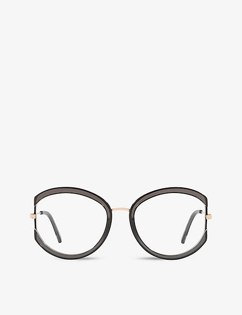 TOM FORD: FT5669-B round-frame metal and schwarz glanz optical glasses