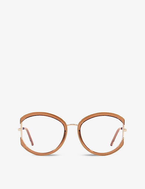 TOM FORD: FT5669-B round-frame metal and braun hell glanz optical glasses