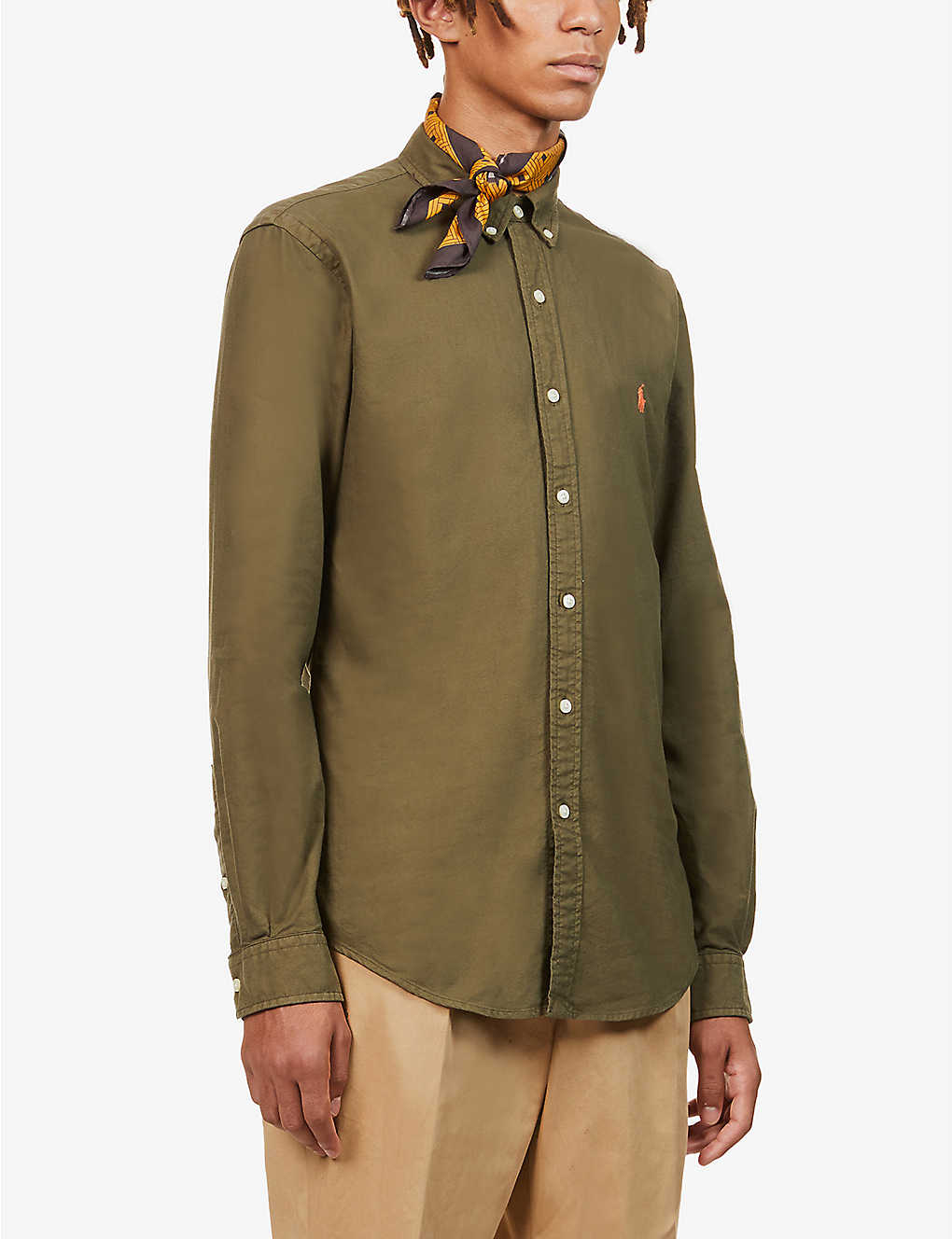 POLO RALPH LAUREN: Logo-embroidered garment-dyed cotton Oxford shirt