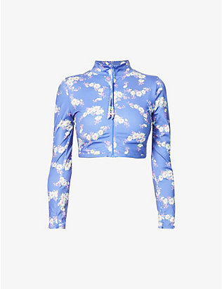 LOVESHACKFANCY: Sedona Rash Guard floral-print stretch-jersey top