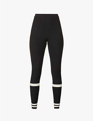 ADAM SELMAN SPORT: Ribbed high-rise knitted leggings