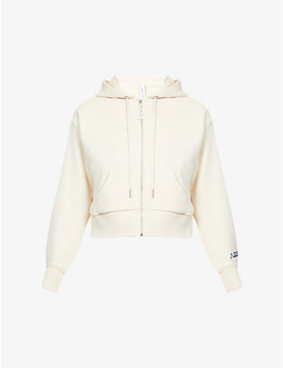 ADAM SELMAN SPORT: Cropped cotton-blend jersey hoody