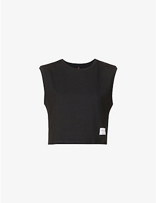 ADAM SELMAN SPORT: Cropped cotton-jersey T-shirt