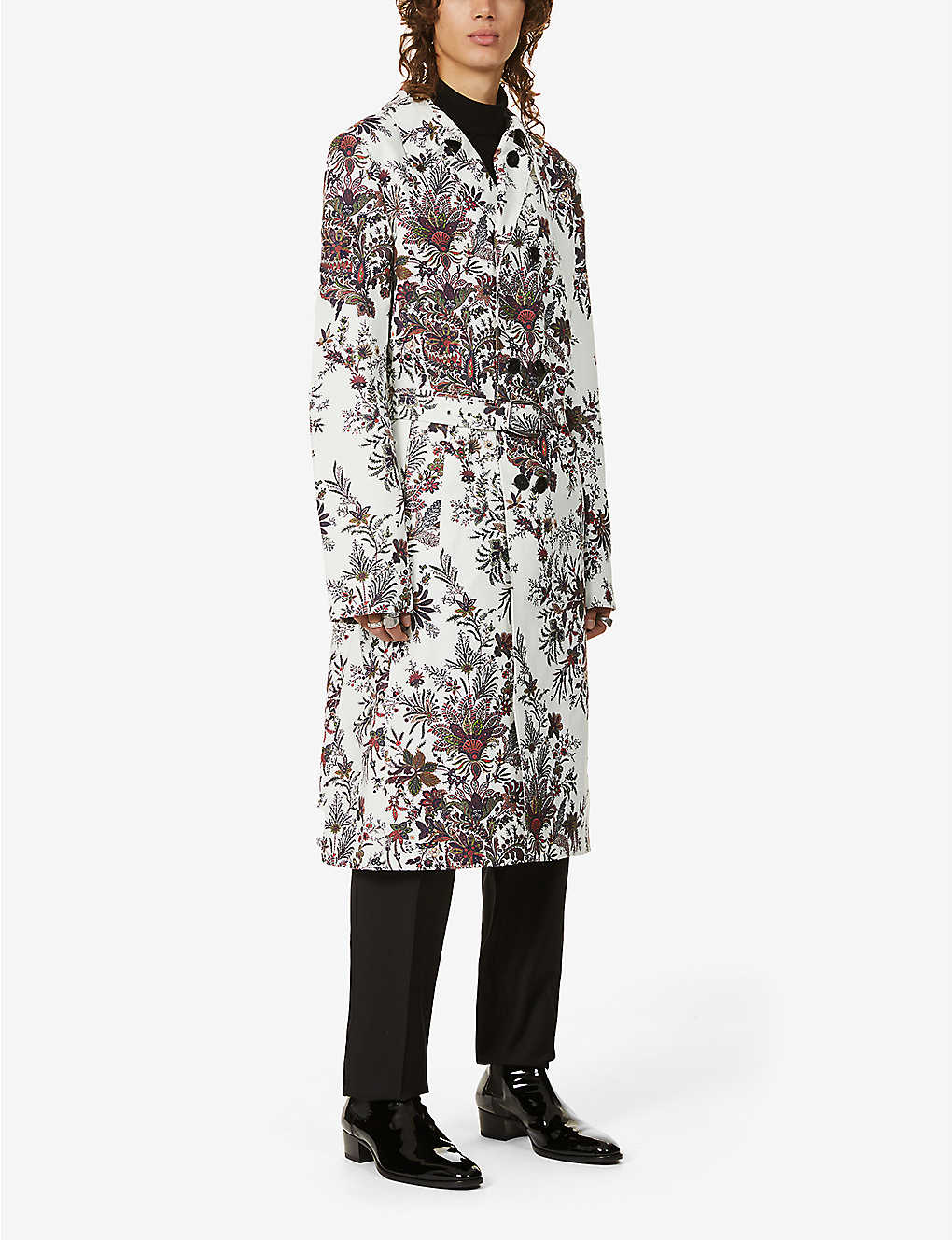 PACO RABANNE: Floral-print cotton-blend trench coat