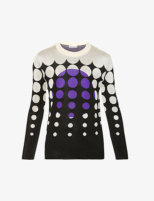 PACO RABANNE: Graphic-print knitted jumper