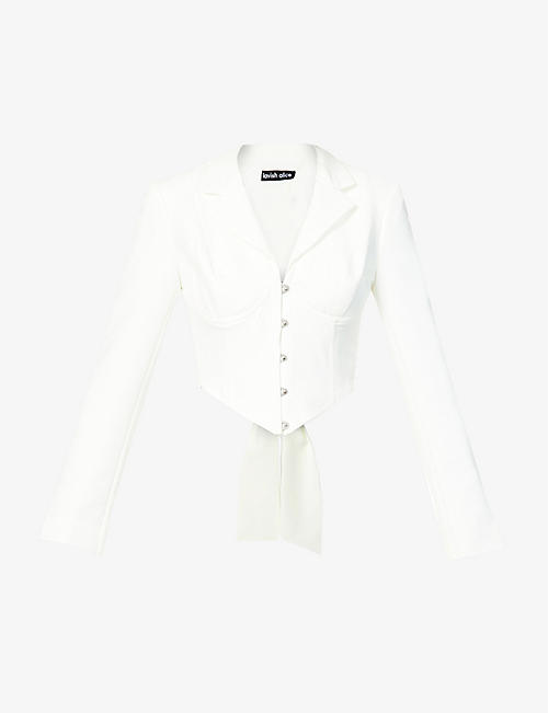 LAVISH ALICE: Cropped V-neck crepe jacket