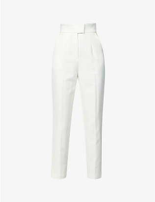 LAVISH ALICE: High-rise tapered crepe trousers