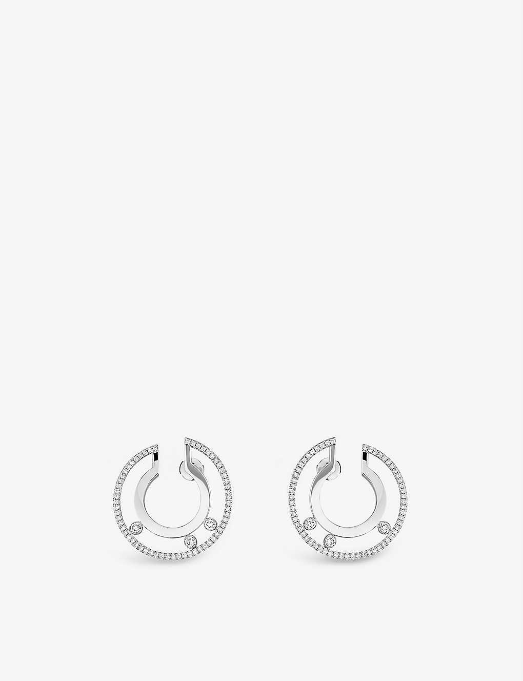 MESSIKA: Move Romane 18ct white-gold and diamond earrings