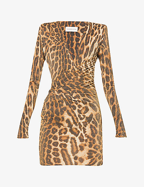 ALEXANDRE VAUTHIER: Leopard-print woven mini dress
