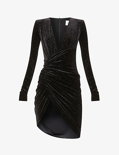 ALEXANDRE VAUTHIER: Glitter-embellished velvet mini dress