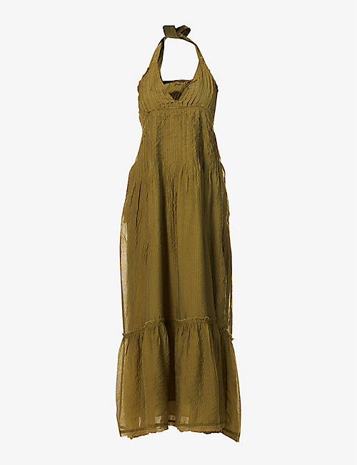 FREE PEOPLE: Frankie pleated woven maxi dress