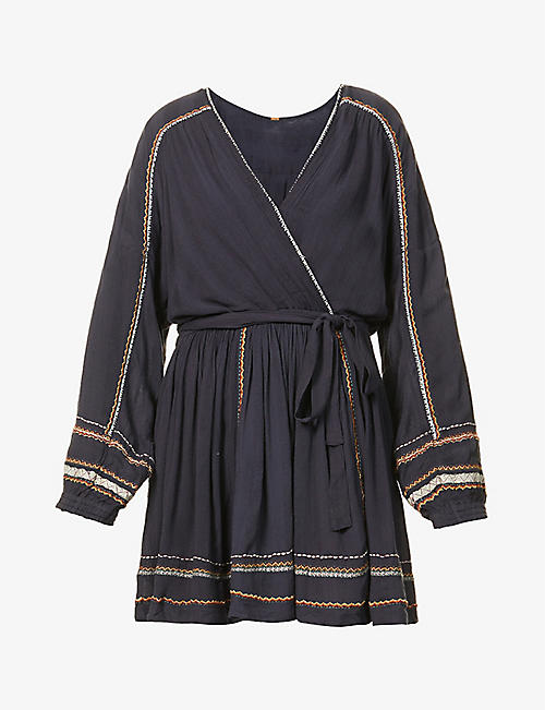 FREE PEOPLE: Delilah woven mini wrap dress