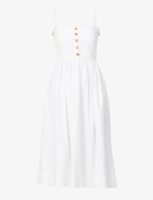 FREE PEOPLE: Lilah pleated cotton midi dress