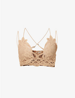 FREE PEOPLE: Adella floral-pattern cotton-blend bralette