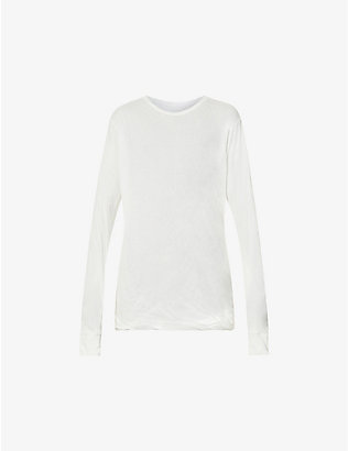 RICK OWENS: Crinkled long-sleeve cotton top