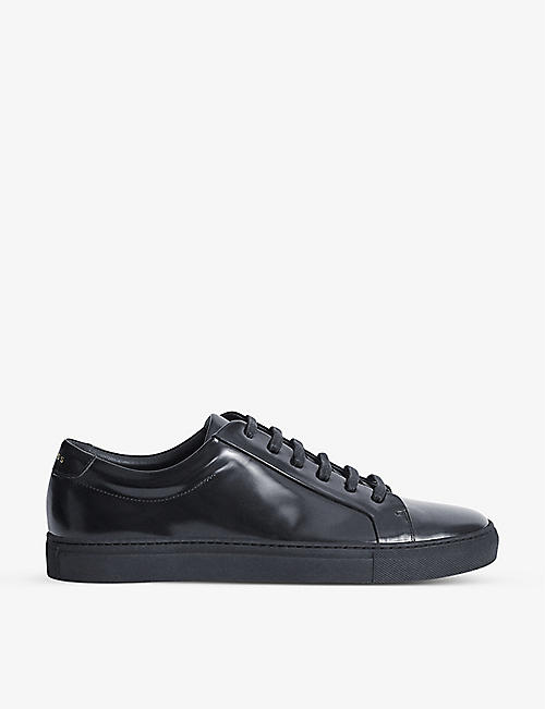 REISS: Luca high-shine leather trainers