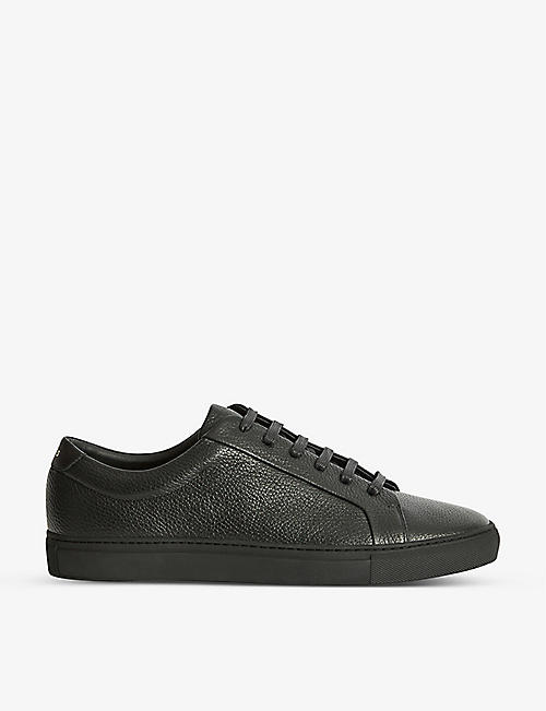 REISS: Luca grained leather trainers