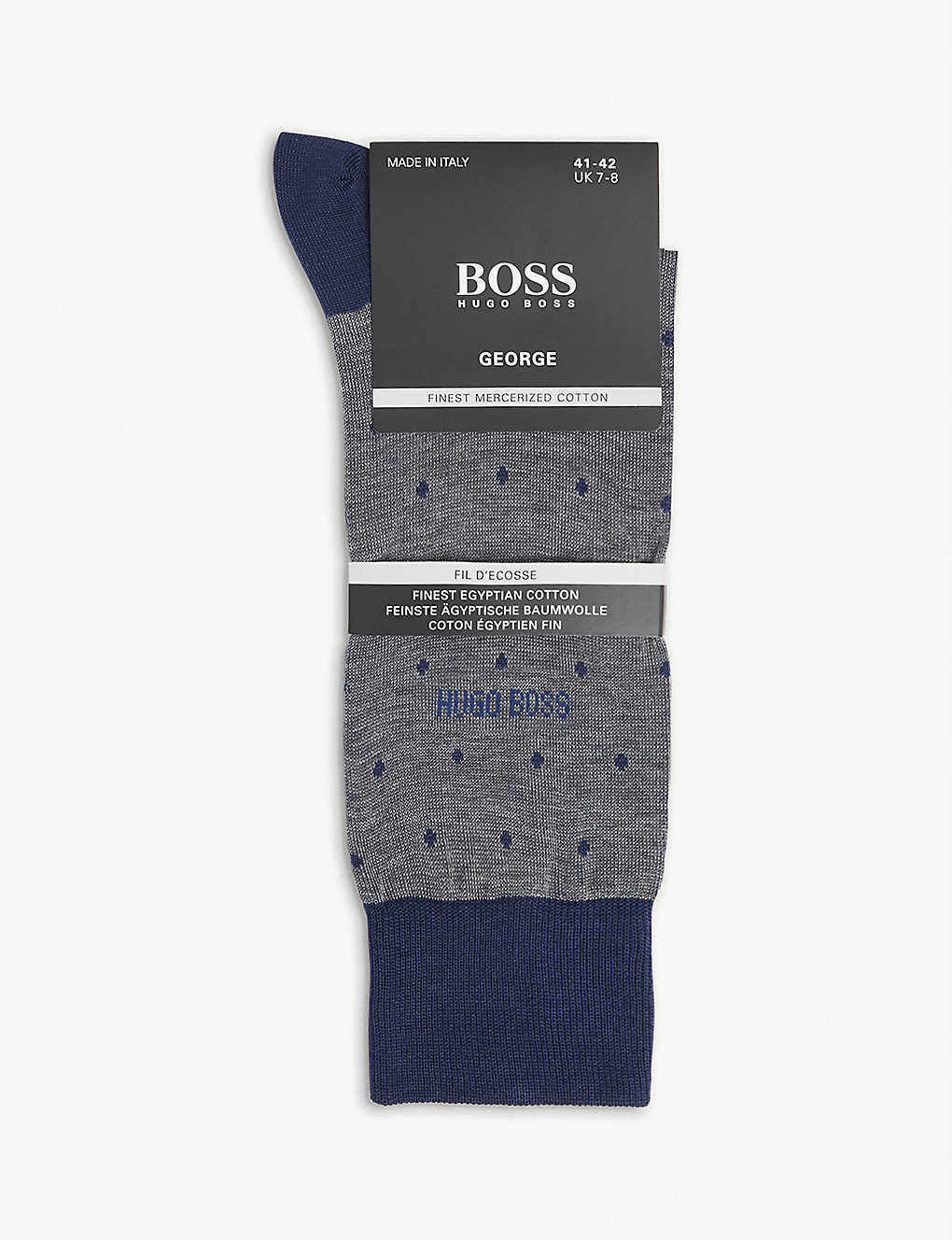 BOSS: Polka dot-print cotton-blend socks