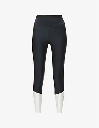 MONCLER: Contrast-panel high-rise stretch-jersey leggings