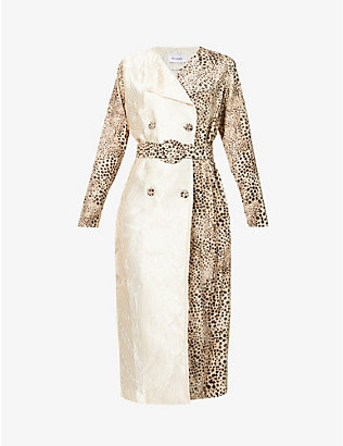 ART DEALER: Mary Kate animal-print stretch-silk trench coat