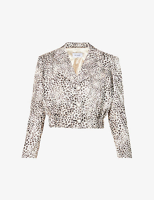 ART DEALER: Dua cheetah-print cropped satin blazer